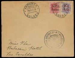 ANDORRA. 1929 (28 Sept). Solden - Les Escaldes. Sobre Franqueado Primera Emision Vaquer Sobrec. Andorra 5c + 20c + Marca - Timbres