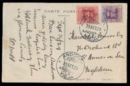 ANDORRA. 1929 (25 Sept). A La Vieja - Inglaterra. TP Circulada Con Sellos 5c + 25c, Mat Fechador. Tarifa 25c. Prec Y Muy - Timbres