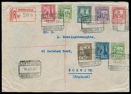 ANDORRA. 1932 (16 Julio). A La Vieja - Norwich / UK. Sobre Certificado Multicolor (x8). Tarifa 1 Pta 55am. Prec. - Non Classés