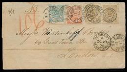 DENMARK. 1870 (27 Oct). Kopenhaguen - UK. Reg Multifkd EL 22 Sk Rate + Denmark / Registered Entry Mark. Fine. - Danemark