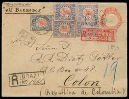 Brazil -Stationary. 1893 (8 April). Campinas - Colon / Colombia. Reg AR Multifkd Stat Env. Via Barbados - NY. Exhibition - Brésil