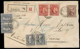 ARGENTINA. 1892 (15 Feb). BA / Nº1 - Austria. Reg 10c Brown Stat Env + 6adtls. 28c Rate + Label. Fine Scarce Multiple Us - Unclassified