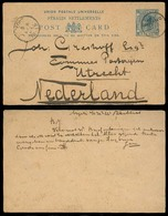 STRAITS SETTLEMENTS SINGAPORE. 1892 (16 March). 2c / 3c Stat Card Used From Indonesia. Atjeh - Netherlands. Via Penang ( - Singapour (1959-...)
