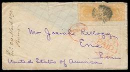 STRAITS SETTLEMENTS SINGAPORE. 1878 (Feb). Penang - USA / Erir / Pa. Fkd Env US Sailor Correspondence Item. Via London - - Singapour (1959-...)