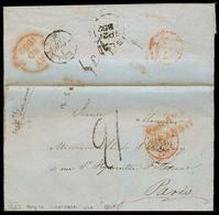 PERU. 1852 (16 Ago). Camana - France Stampless. EL Full Text Carrie Dvia Islay BPO (21 Sept) - Panama BPO. Several Charg - Pérou