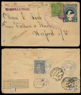 HONDURAS. 1892 (30 Sept). San Juancito - Germany. 10c Blue Stat Env + 2 Adtls. Via Amapola & Panama. Rare Oval Town Orig - Honduras