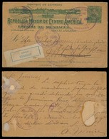 HONDURAS. 1899 (13 June). Nicaragua - Honduras. Granada - Managua / Fwded To Tegucigalpa. 2c Green Stat Card + Returned. - Honduras