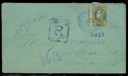 VENEZUELA. 1883 (18 March). Puerto Cabello - Canada. Reg Env Single Frnaked 1 Bolivar Green, Tied Blue Cds. Correct Reg - Venezuela