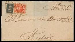 "BRAZIL. 1868 (26 June). Queimados - Rodeio. E Fkd 10rs D Pedro + 90rs Small Numerals, Good Margins, Oval ""QUEIMADOS"" (xx - Brésil"