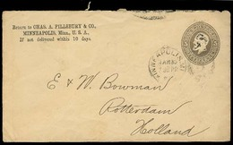 USA. C.1887 (30 March). Minneapolis - Netherlands. 5c Grey Printed Stat Env. - Unclassified