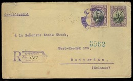BOLIVIA. 1906. Uyuni - Netherlands. Reg 20c Lilac Stat Env + Adtl + R-pmk. Via Jujuy. Fine. - Bolivie