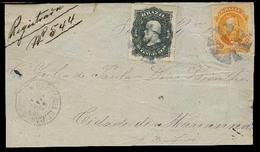 BRAZIL. 1883 (30 March). Santanna De Catuary - Marianna. Reg Front Fkd. 200 Rs + 500 Rs Perce's / Cork + Cds. High Fkg. - Brésil
