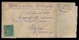 INDOCHINA. 1886. Tonkin - France (2 Nov 1886). Fkd Wrapper 5c Sage / Cds Containing Silk Hand Painted Paper. V. Scarce I - Stamps