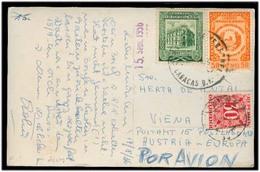 VENEZUELA. 1956. Caracas - Austria. Fkd Taxed PPC + P Due Tied. Arrival Fine Comb. - Venezuela