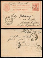 VENEZUELA. 1896. C. Bolivia - Argentina. 10c Stat Card. Via Port Of Spain / Trinidad - Barbados - Brazil. - Venezuela
