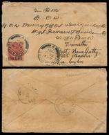 STRAITS SETTLEMENTS SINGAPORE. 1901 (12 Feb). Singapore - India. Via Madura - Ceylon. Env Fkd 4c Ovptd. - Singapour (1959-...)
