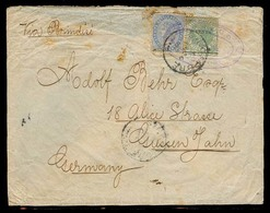 STRAITS SETTLEMENTS SINGAPORE. 1892 (26 Jan). Singapore - Germany. Fkd Env 5c + 10c Green Ovptd, Tied Cds + Oval Violet - Singapour (1959-...)