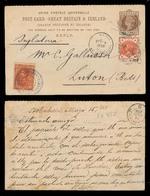 VENEZUELA. 1888 (5 May). Pto Cabello - UK. GB Stat Reply Half Used Form With Adtl GB + Venezuela 10c Brown / Violet Town - Venezuela