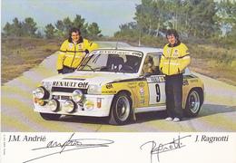 Cp-auto-sport-J.M. Andrié & J. Ragnotti Devant Renault GT Turbo Avec Les 2 Autographes - Voitures De Tourisme