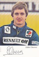 Cp-auto-sport-Jeddie Cheever Pilote Renault Avec Autographe - Passenger Cars