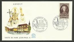 """74 - ANNECY """" Visite De Sa Sainteté JEAN PAUL II """" / 1986 - Cachets Commémoratifs"""