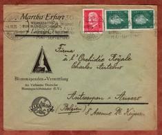 Vordruckbrief Fleurop, MiF Hindenburg U.a., MS Band Jagd-Ausstellung... Leipzig Messestadt, Nach Antwerpen 1929 (70971) - Deutschland