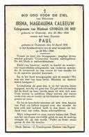 Oorlogsslachtoffer Oostende 24/5/40 * Caleeuw Irena (° Oostende  1906, X De Buf Georges) & Zoon Paul (°1936) - Religion & Esotérisme