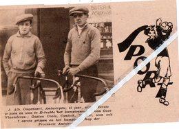 WIELERSPORT..1931.. ALB.ONGENAERT WON TE ERTVELDE. GASTON COOLS CONTICH WON KAMPIOENSCHAP ANTWERPEN - Vieux Papiers