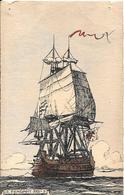 4CPA-Vers1940- Déssin E.BLANDIN-Fregate Le Fendant/LaRenommée/Le Lion/Le Dauphin Royal-BE-Pt Trous Punaises Aux 4 Coins - Voiliers