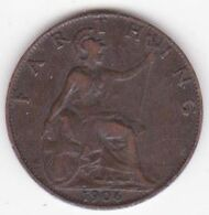 Grande-Bretagne 1 Farthing 1906 , Edward VII - 1902-1971 : Monnaies Post-Victoriennes