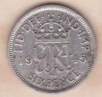 Grande Bretagne. 6 Pence 1945. George VI ,en Argent - 1902-1971 : Post-Victorian Coins