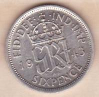 Grande Bretagne. 6 Pence 1943. George VI ,en Argent - 1902-1971 : Post-Victorian Coins