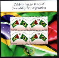 GUYANA, 2018, MNH, FLAGS, 50  YEARS OF GUYANA -BRAZIL FRIENDSHIP,  SHEETLET OF 4v - Stamps