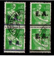 ALGERIE Lot 2 Paires MOISSONNEUSE 0,10F Surcharges Différentes E.A. Oblit. D'époque Tigditt & Mostaganem - Algérie (1924-1962)
