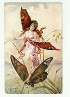 ART NOUVEAU  Femme & Papillon- Les Maitres De La Carte Postale Série D3 - Illustratori & Fotografie