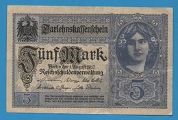 DEUTSCHES REICH 5 Mark  01.08.1917 Serie  R.18952028 P# 56b DARLEHENSKASSENSCHEINE - [ 2] 1871-1918 : German Empire