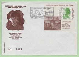 "FLAMME - ARLES  ""1988 ANNEE VAN GOGH""  Sur PORTE TIMBRE - 2,00F LIBERTE - 20/2/1988 - - Postmark Collection (Covers)"