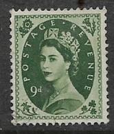Great Britain,  EIIR, 1955, 9d, Bronze-green, Unused, No Postmark, No Gum - Used Stamps