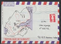 YT 2630 L 2,30F Rouge Marianne De Briat Autoadhésif, Sur Lettre De Djibouti, Poste Aux Armées, Du 13.03.90, Oblitération - 1989-96 Bicentenial Marianne