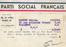 CARTE ADHERENT PARTI SOCIAL FRANCAIS 1937 - Historical Documents