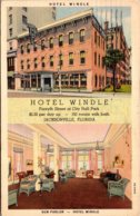 Florida Jacksonville Hotel Windle Showing Sun Parlor 1937 Curtei