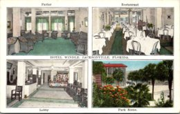 Florida Jacksonville Hotel Windle Parlor Restaurant Lobby And Park Scene - Jacksonville