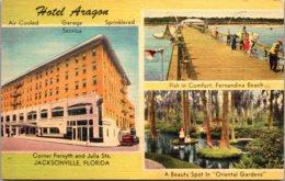 Florida Jacksonville Hotel Aragon Showing Oriental Gardens & Fishing At Fernandina Beach Pier - Jacksonville
