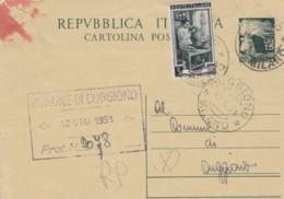 INTERO POSTALE 1951 15L. +5 (ANGOLO SCIUPATO) -TIMBRO CUGGIONO MILANO (EX323 - 6. 1946-.. Repubblica