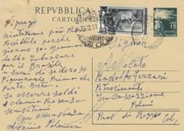 INTERO POSTALE 1951 15L. +5 -TIMBRO REGGIO CALABRIA (EX324 - 6. 1946-.. Repubblica