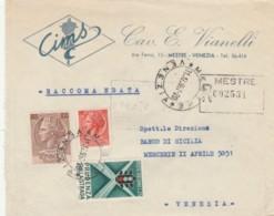 RACCOMANDATA 1957 CON 10+100+25 PRUDENZA ALLA STRADA-TIMBRO VENZIA MESTRE (EX370 - 1946-.. République