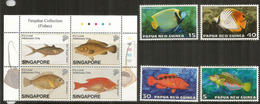Poissons Des îles De Singapour Et Papouasie   8 Timbres Neufs ** - Fishes