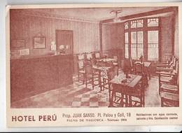 Tarjeta Postal : Palma De Mallorca  Hotel Perù, J Sanso   Pl Palou    1952 - Palma De Mallorca