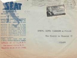 LETTERA 1955 25 L. PASCOLI -SEAT- TIMBRO MILANO (EX467 - 6. 1946-.. Repubblica