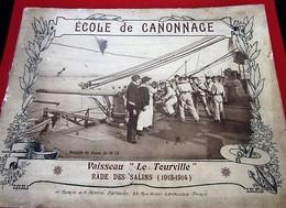 """MARINE-1914/15 ECOLE CANONNAGE VAISSEAU""""LE TOURVILLE""""RADE DES SALINS 22 Photographies MARINS Doc TRANSPORT HÔPITAL - Documents"""